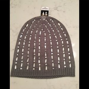 JCpenny grey bedazzled beanie.